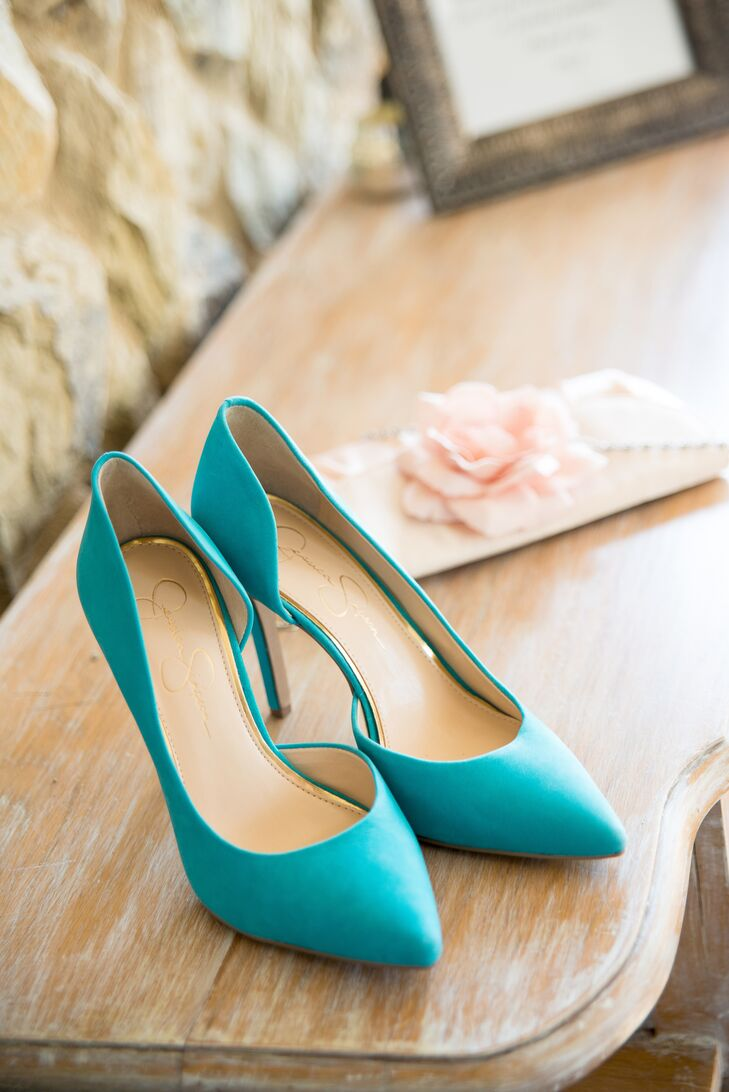"For her ""something blue,"" Lauren wore turquoise suede d'Orsay pumps by Betsey Johnson."