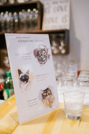 Personalized Signature Cocktail Sign with Cats