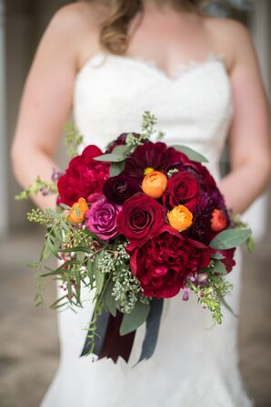 Dramatic Red Rose, Ranunculus and Eucalyptus Bouquet