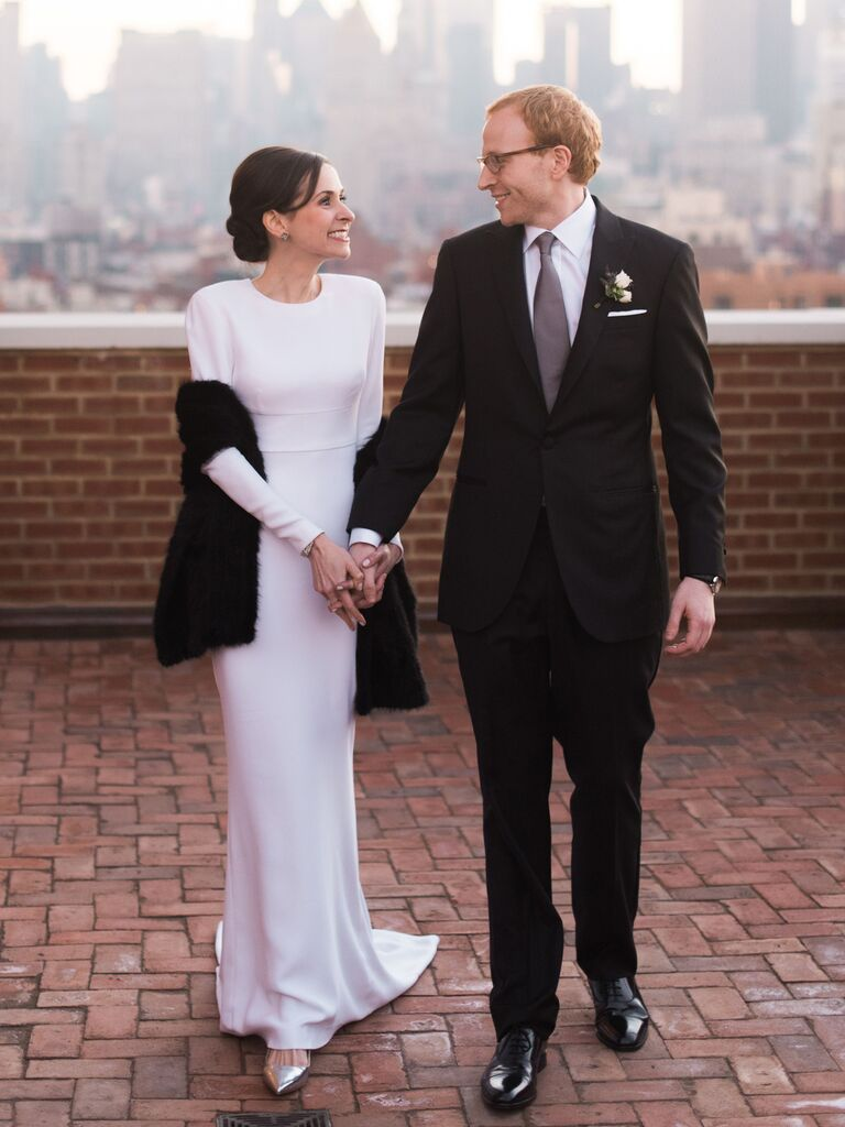 simple winter wedding dress with long sleeves