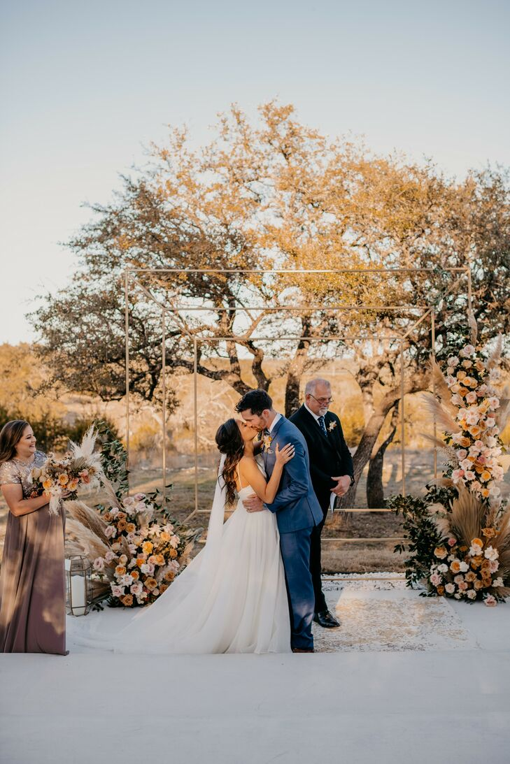 Rustic, Bohemian Ceremony with Square Wedding Arch