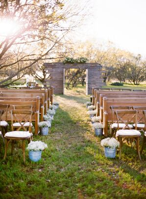 Vintage Church Pews for Outdoor Ceremony