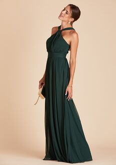 Birdy Grey Kiko Mesh Dress in Emerald Halter Bridesmaid Dress