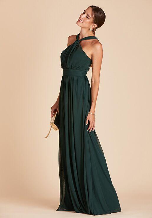 Birdy Grey Kiko Mesh Dress in Emerald Halter Bridesmaid Dress