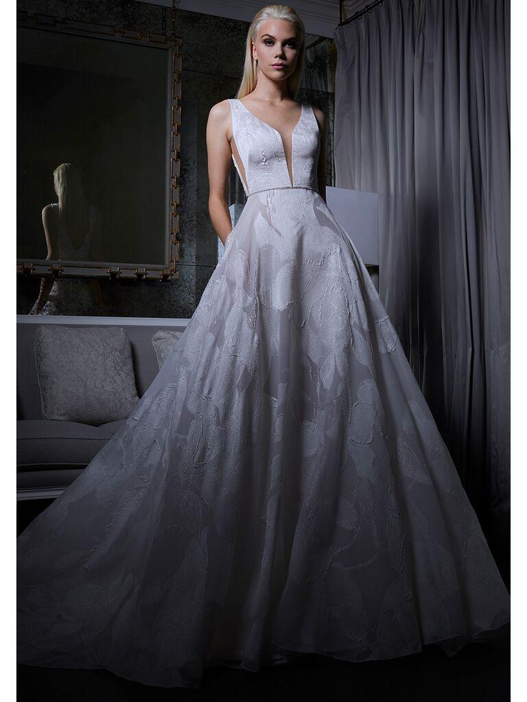 Romona Keveza wedding dress plunging neckline ball gown