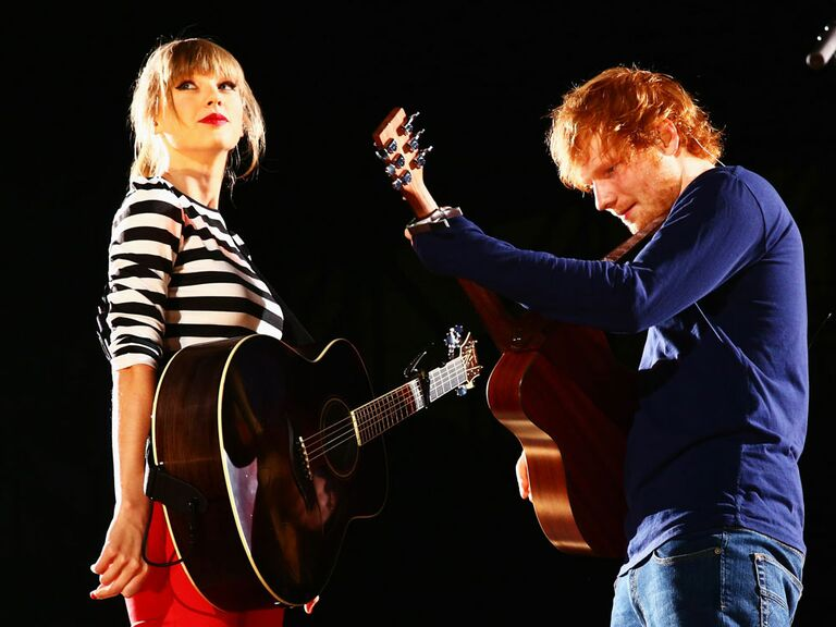 Taylor Swift and Ed Sheeran performing