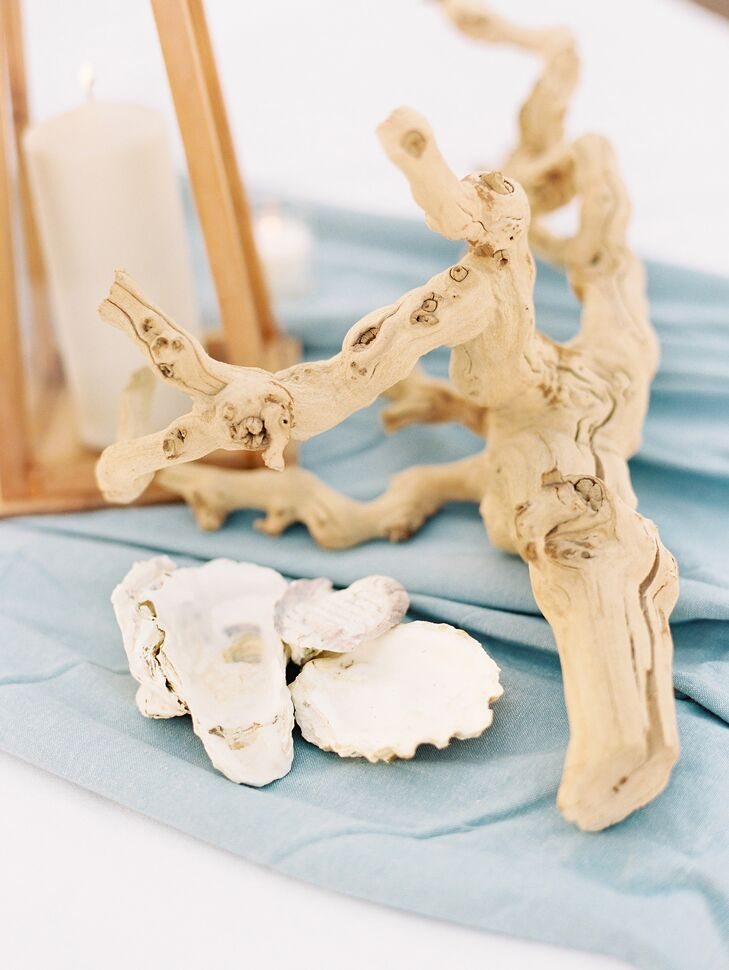 Beach-Inspired Driftwood and Seashell Wedding Centerpieces