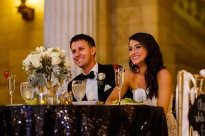 Happy Couple at Reception Sweetheart Table