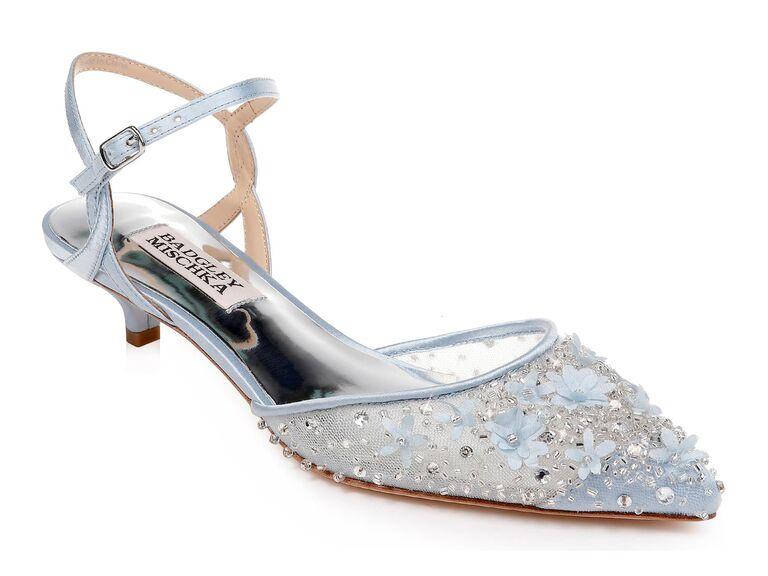 Blue floral sparkly wedding heels