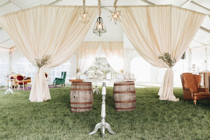 Rustic Tented Cocktail Area