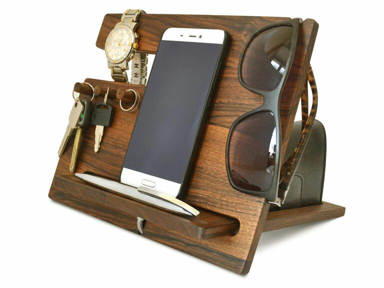 Wooden phone dock Valentine's Day gift for him