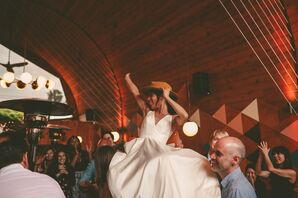Casual Bride with Hat Dancing at Reception