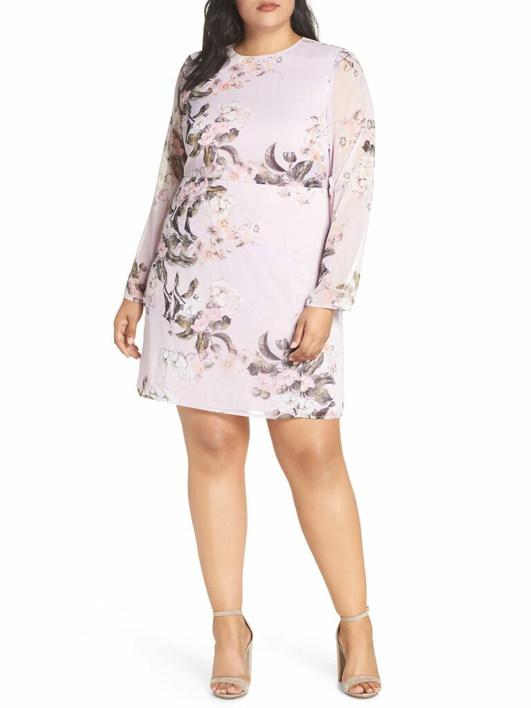Long sleeve floral spring wedding guest dress