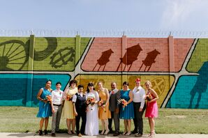 Modern Wedding Party in Bright, Colorful Mismatched Attire