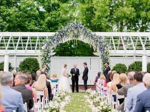 Purple Wisteria-Draped Wedding Arch