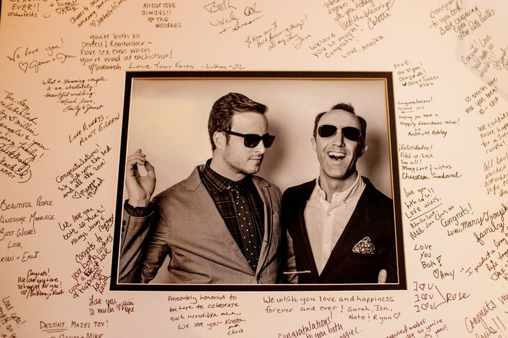 A framed photo of the couple—signed by guests—took the place of a traditional guest book.