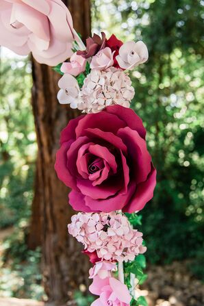 Pink Paper Rose and Hydrangea Wedding Arch