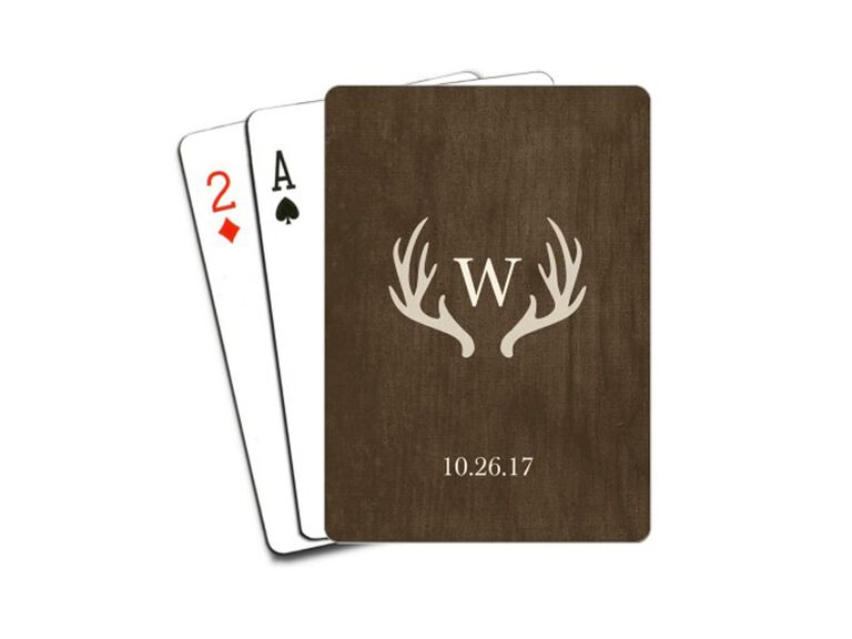 Monogrammed playing cards for best man