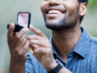 Man proposing with ring box