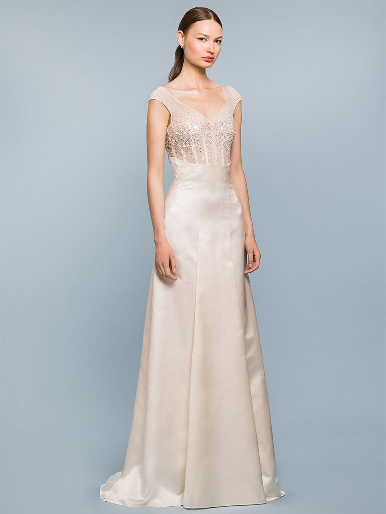 EDEM Demi Couture A-line dress with sheer beaded bodice