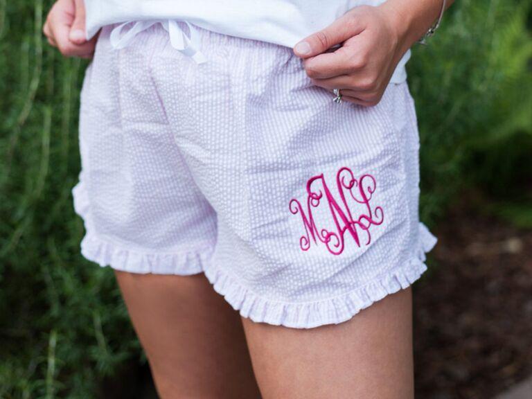 Bridesmaid boxer shorts monogram