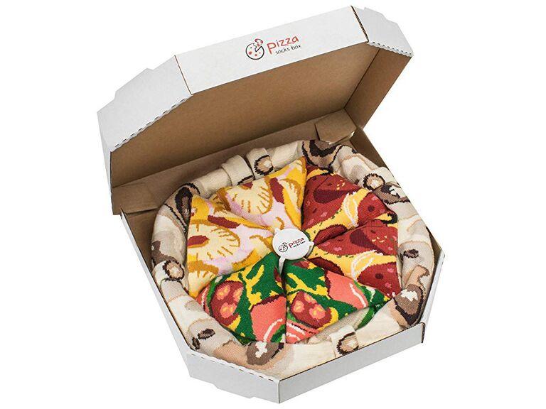 Pizza box groomsmen gift sock set