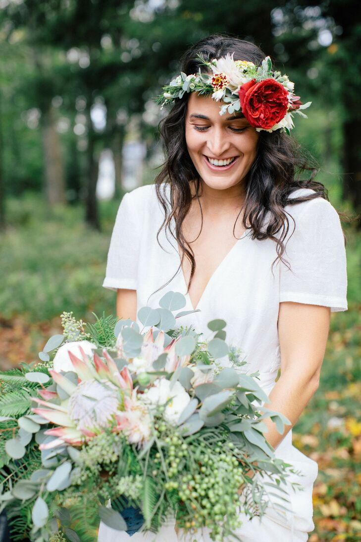 Boho Bride with Flower Crown and Bouquet of Roses, Eucalyptus and King Protea