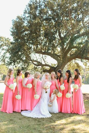edd8697e33f Coral and Sage Bridesmaids with Western Flower Girl