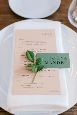 Place Cards and Menus for Wedding at Sound River Studios in Long Island City, New York