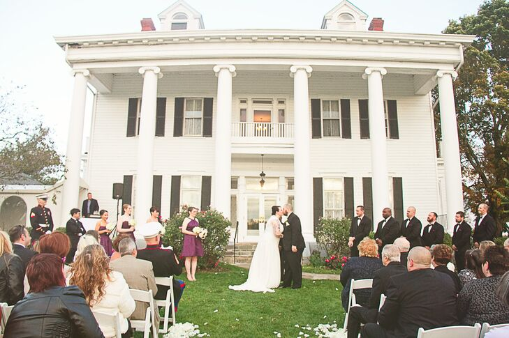 "Randy and Sophia threw a lighthearted wedding to showcase their laid back personalities, but they were inspired by the venue's architecture to incorporate a few vintage elements. Sophia described Bristow Manor, saying, ""It wears its age well with beautiful bowed floors, a staircase to die for, and the most perfect detail work on the walls."""