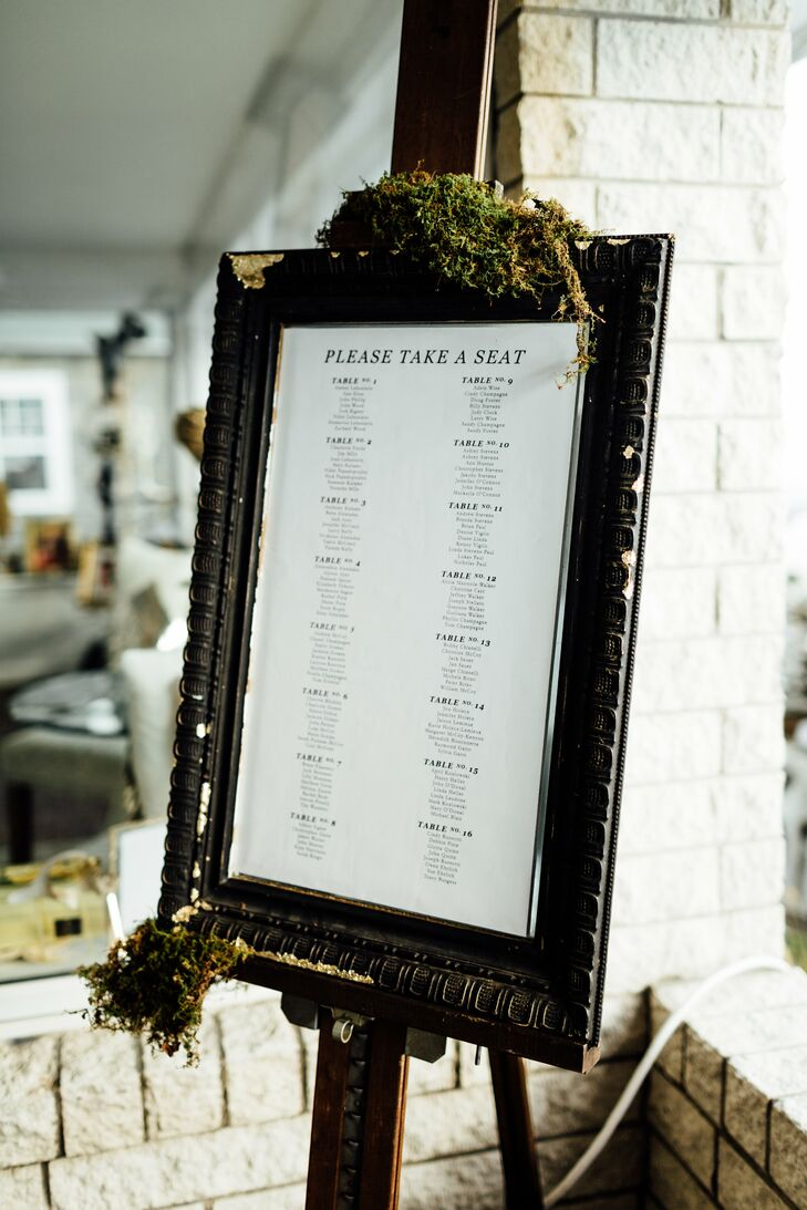 Rustic Framed Seating Chart Display with Moss
