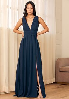 Lulus Heavenly Hues Navy Blue Maxi Dress V-Neck Bridesmaid Dress