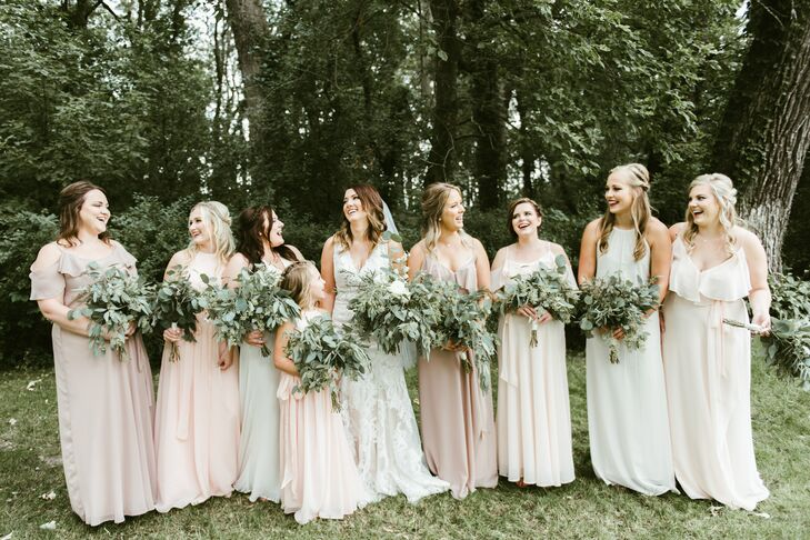 """For our bridesmaids, I wanted a very effortless and comfortable look for each person,"" says Trisha. ""They turned out to be exactly what I was picturing. I wanted a variation of colors, fits and styles in muted blush and neutral tones."""