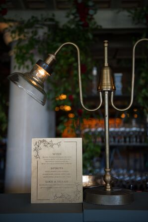 Vintage Bar Lighting and Rustic Drink Menus