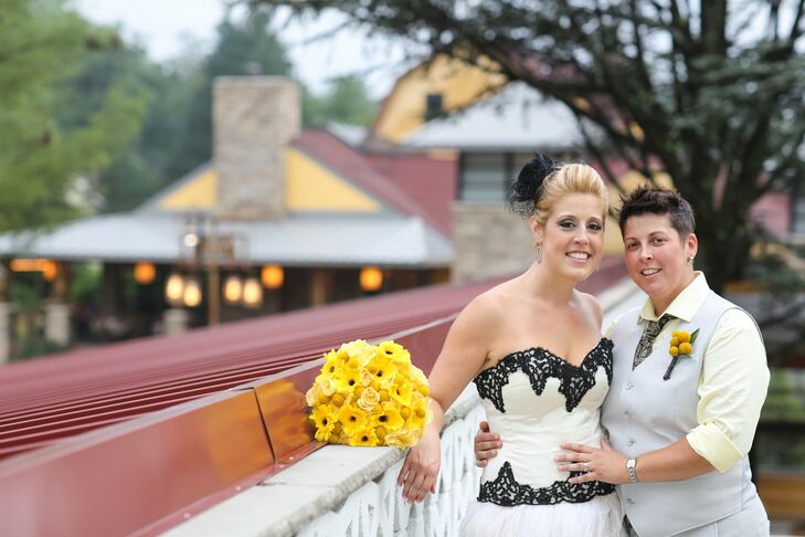 Wanting their guests to feel carefree, Stacey and Tara chose a vintage carnival theme for their wedding, complete with a yellow, black, gray and white