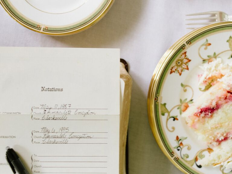 A piece of legal paperwork and a plate