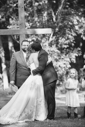 Backyard Ceremony First Kiss
