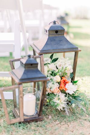 Aisle Decorations with Lanterns, Candles and Flowers