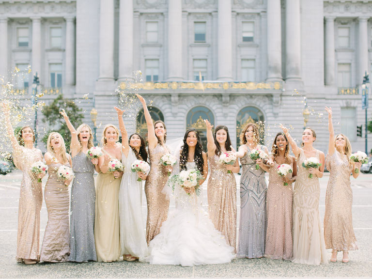 mismatched bridesmaid dresses in neutral colors