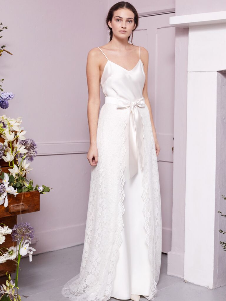Halfpenny London 2020 Bridal Collection A-line wedding dress with lace overlay