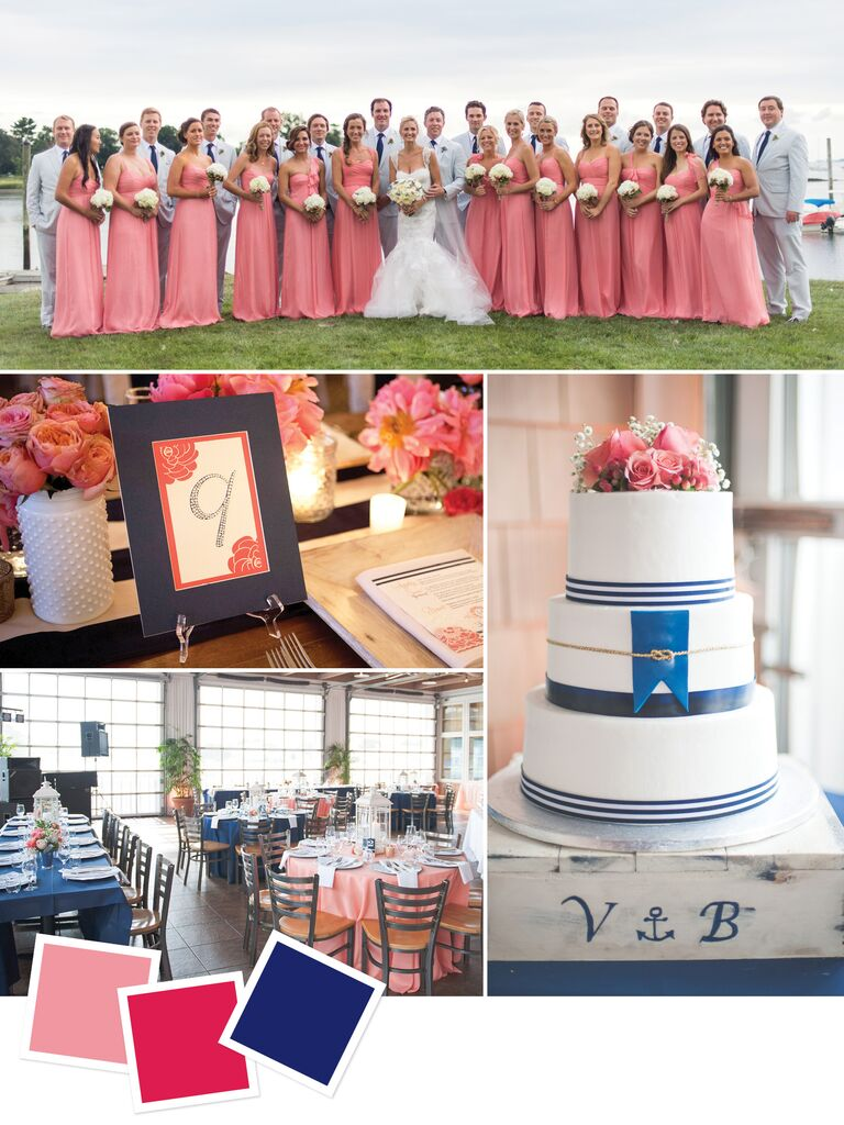 Nautical themed beach wedding with coral, fuchsia and navy colors