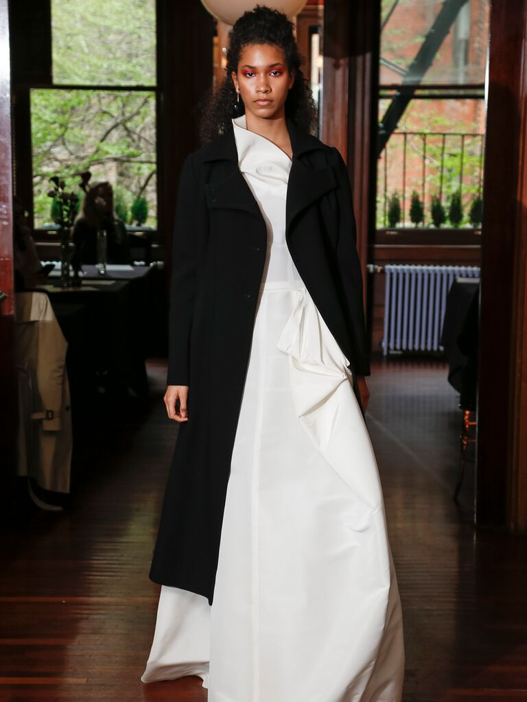Monica Byrne Spring 2020 Bridal Collection white bridal look with black duster