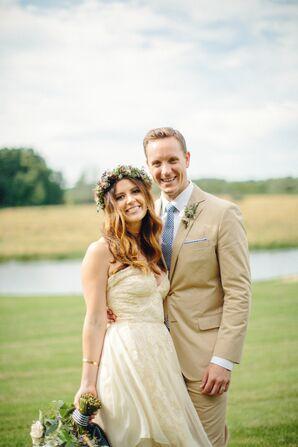 Gold Strapless Sarah Seven Wedding Dress