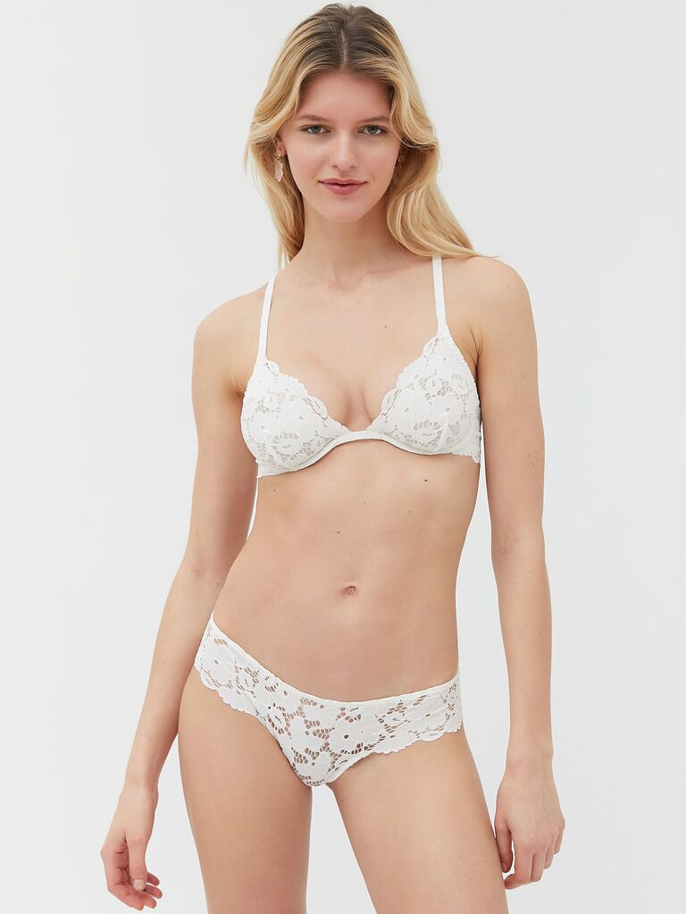 White lace honeymoon lingerie