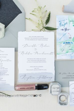 Classic, Simple Wedding Invitations with Torn Edges and Calligraphy