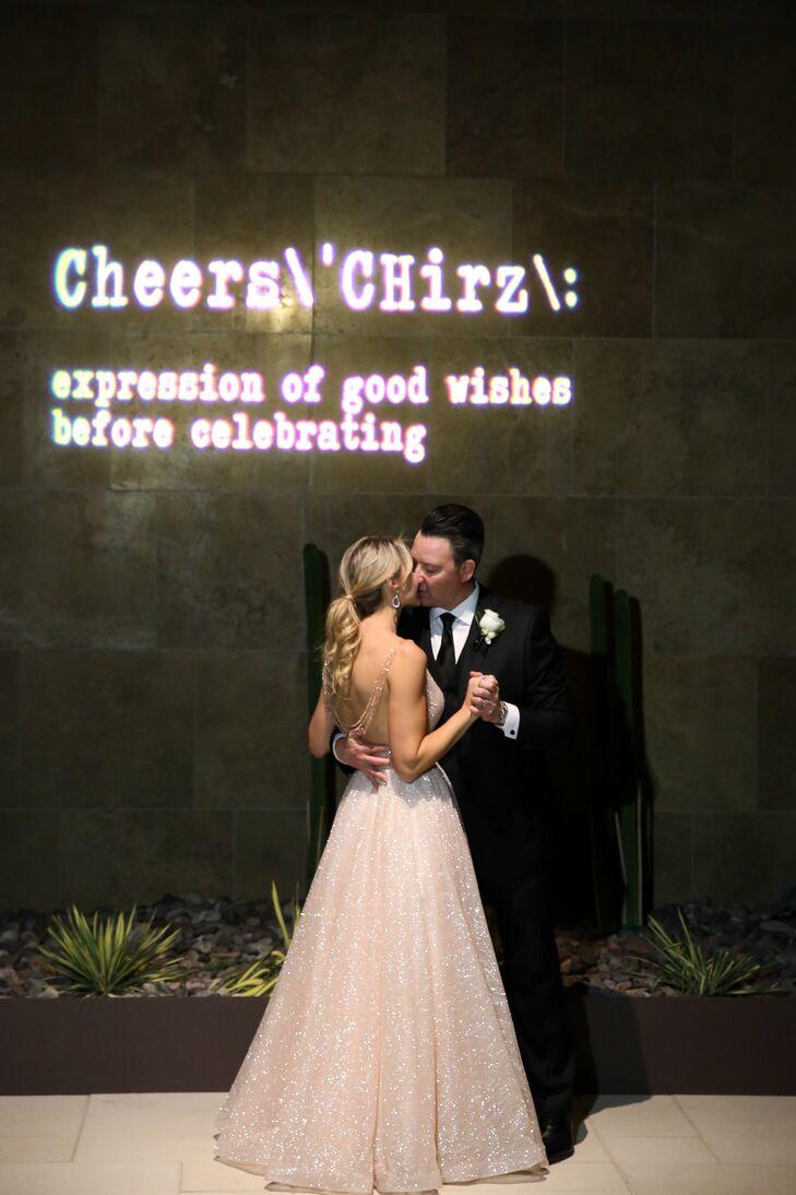 Elegant Couple with Neon Sign
