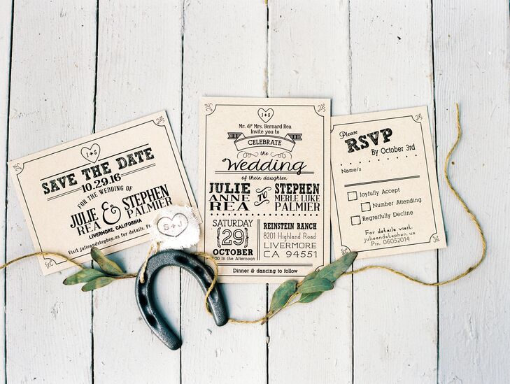 Julie created the Western-inspired invitation suite from a digital template she found on Etsy. She added the horseshoe emblem, which threads through the day's decor.