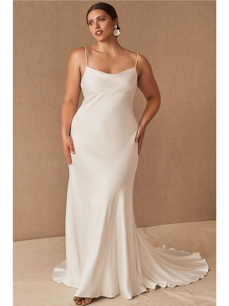 Cowl-neck silk wedding dress