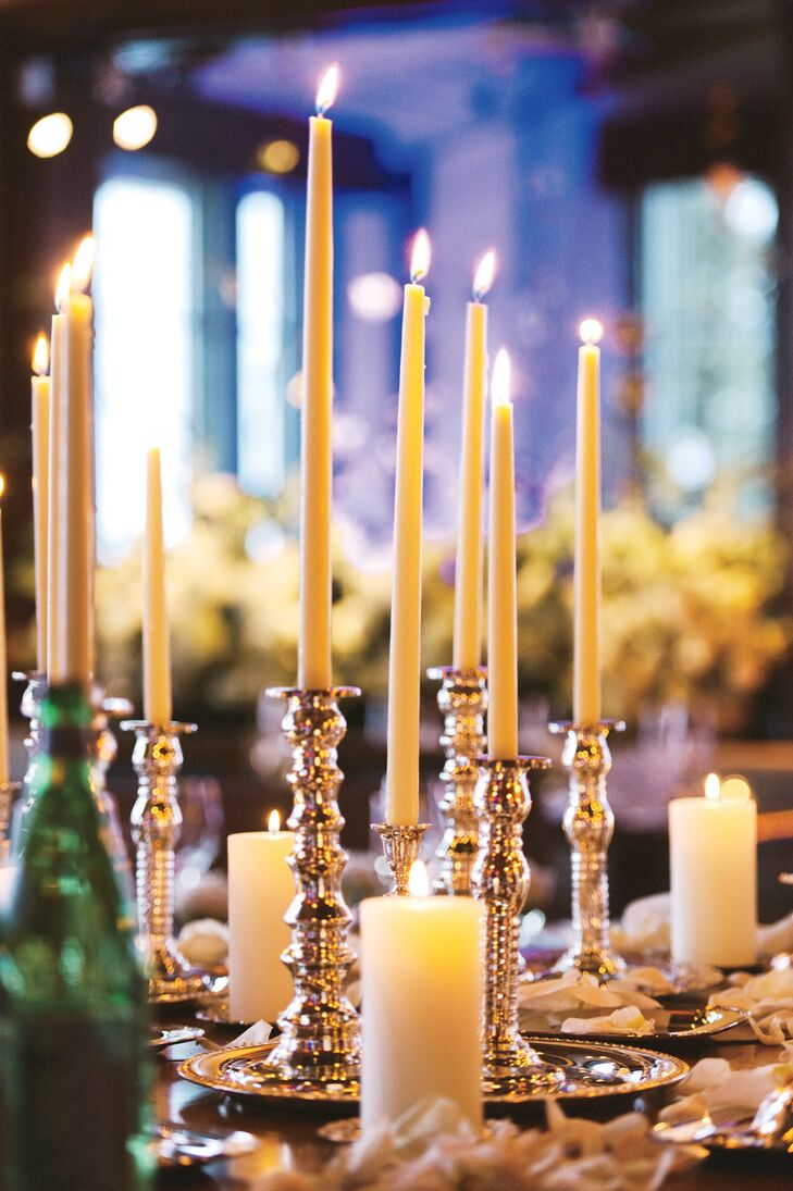 Candles added a romantic touch to the otherwise simple table decor.