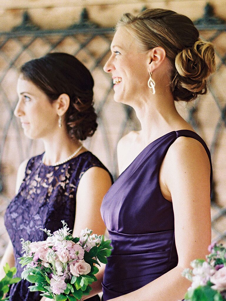 Formal bridesmaid hairstyle with a low pinned updo